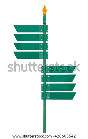 Blank direction green signpost isolated on white background. Object with clipping path.