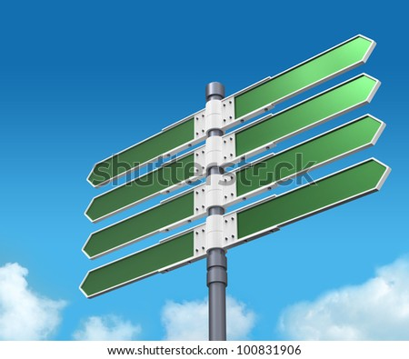Blank direction sign with 8 arrows (add your text) on sky background. - stock photo