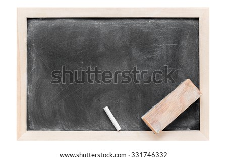 Blank dirty blackboard , chalk and eraser isolated on white background