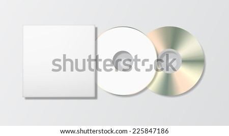 Blank disk and case template, photo realistic illustration. - stock photo