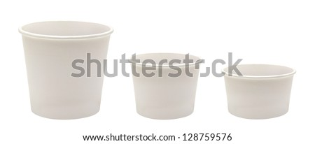 Blank Disposable Paper Cups In Three Different Size on White Background - stock photo