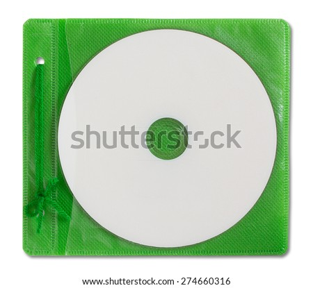 Blank DVD case and disc isolated on white - stock photo