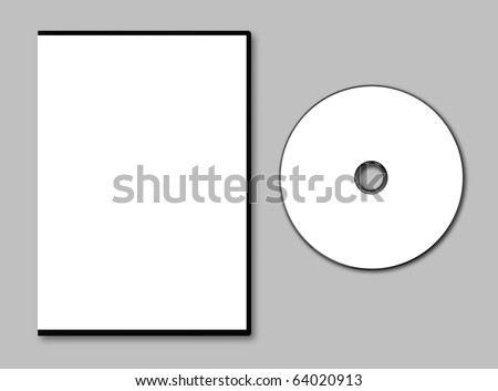 Blank DVD case and disc on gray background - stock photo