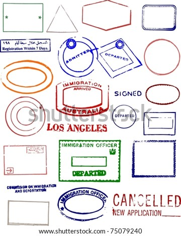 Blank Editable Passport Stamps - stock photo