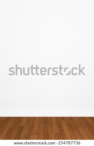 blank empty grunge room with white wallpaper and parquet - stock photo