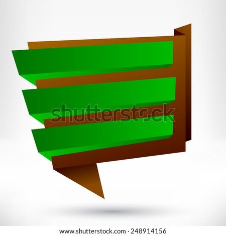 Blank empty origami design element. Banner background. - stock photo