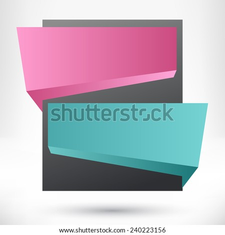 Blank empty origami design element. Banner sale background.  - stock photo