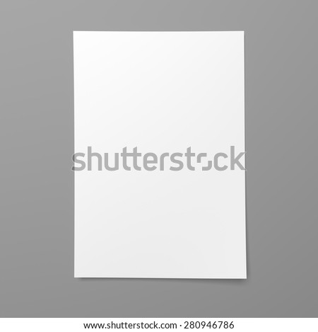 Blank empty sheet of white paper on gray background