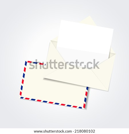 blank envelope and letter template isolated on white