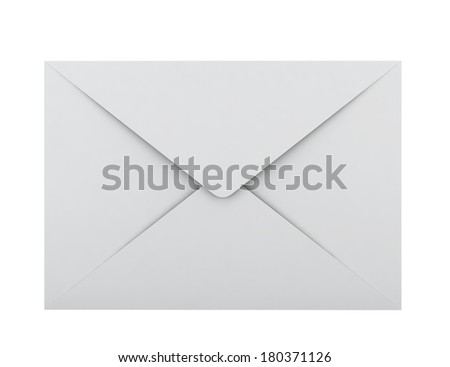 Blank envelope. 3d illustration on white background  - stock photo
