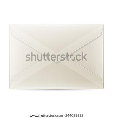 Blank envelope isolated on white background - stock photo