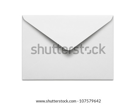Blank envelope isolated on white background with clipping path - stock photo