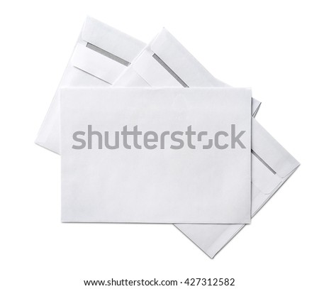 Blank envelopes, isolated on White - stock photo