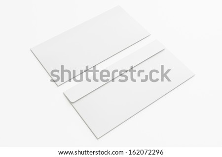 Blank envelopes  isolated on white with soft shadows. Front and back side. - stock photo