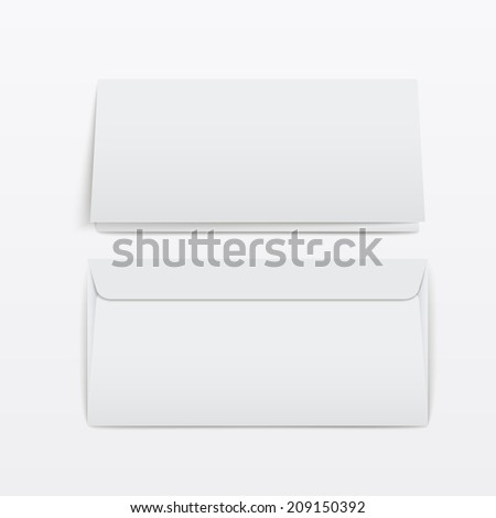 blank envelopes template isolated over white background - stock photo