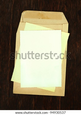 blank envelopes with papers as background - stock photo