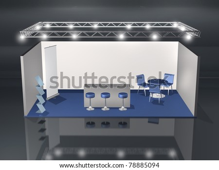 Blank fair stand with lighting truss construction above - stock photo