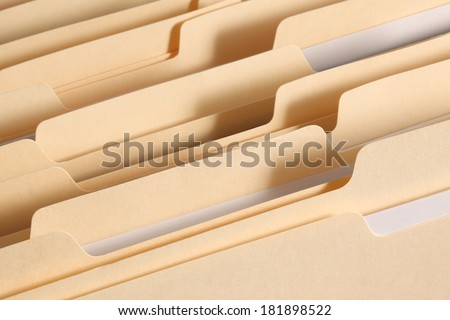 Blank file folder tabs in a filing cabinet drawer. Primary focus on tabs near the front of the image.  - stock photo