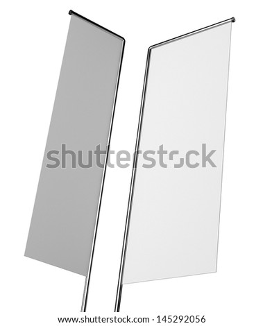 Blank flags or shelf-stopper on white - stock photo