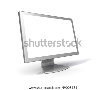 Blank Flat Screen LCD monitor (with clipping Path around screen and object) - stock photo