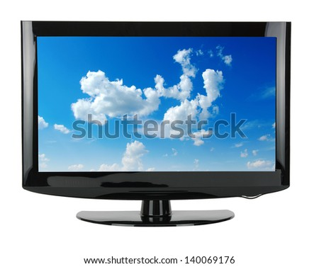 blank flat screen TV set, isolated on white background - stock photo