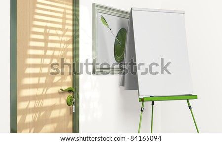 blank flip chart inside a meeting room with copy space - green tone - stock photo