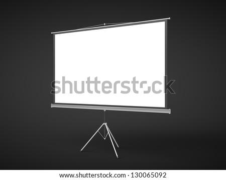 blank flip chart on a black background - stock photo