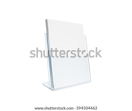 Blank flyer mockup glass plastic transparent holder isolated. Plain flier stand. Clear brochure holding. Clean sheet mock up design presentation. Shows flyer. Pamphlet design. Empty paper template. - stock photo