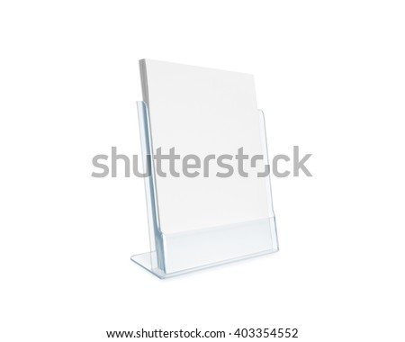 Blank flyer mockup glass plastic transparent holder isolated. Plain flier stand. Clear brochure holding. Clean sheet mock up design presentation. Shows flyers. Pamphlet design. Empty paper template. - stock photo
