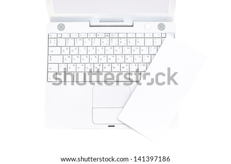 Blank flyer with notebook, isolated on white - stock photo