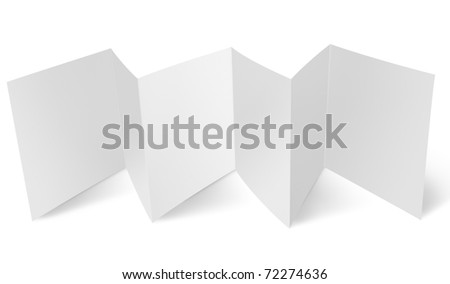 Blank flyer with zigzag fold - stock photo