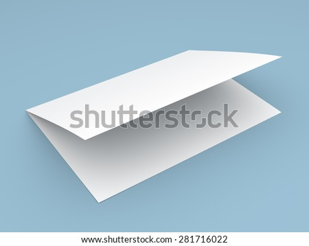 Blank folded flyer, booklet, postcard, business card or brochure mockup template on blue background - stock photo