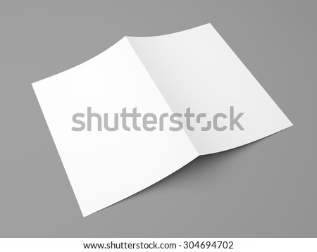 Blank folded flyer, booklet, postcard, business card or brochure mockup template on grey background - stock photo