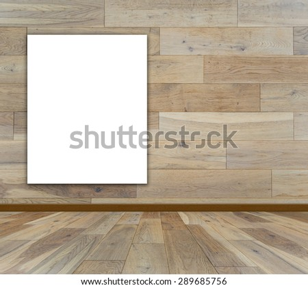 Blank frame in wood room for information message - stock photo