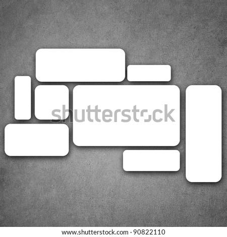 blank frame on gray background. - stock photo