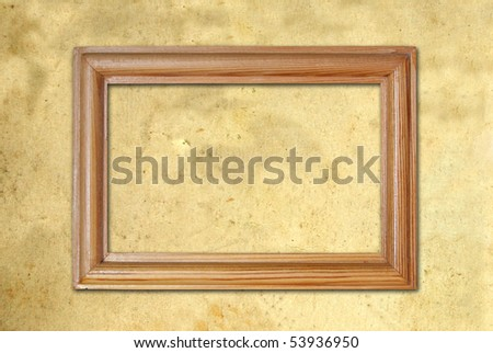 blank frame on old paper - stock photo