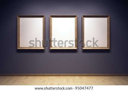 blank frames in the gallery, 3d rendering - stock photo