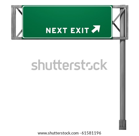 Blank Freeway Sign - 3D Isolated - stock photo