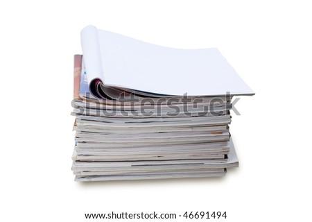 Blank front page magazine isolated on white background - stock photo