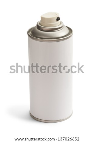 Blank Generic White Spray Can Isolated on White Background. - stock photo