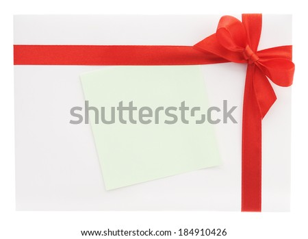 Blank gift or letter with red bow