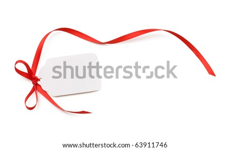 Blank gift tag or price tag isolated on white. - stock photo