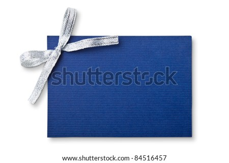 Blank gift tag tied with a bow of silver ribbon. Isolated on white, with soft shadow - stock photo