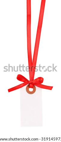 Blank gift tag with bow isolated on white - stock photo