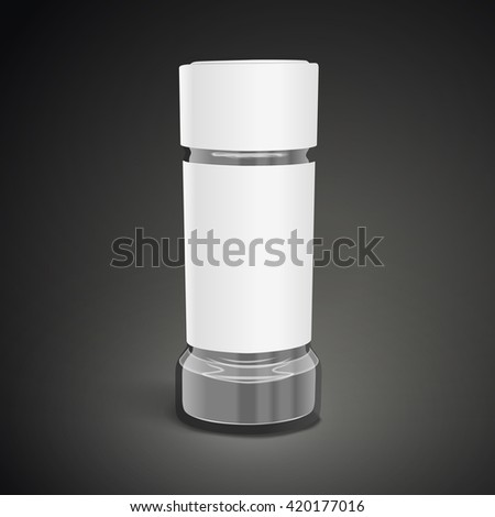 blank glass salt and pepper shakers on black background. 3D illustration.
