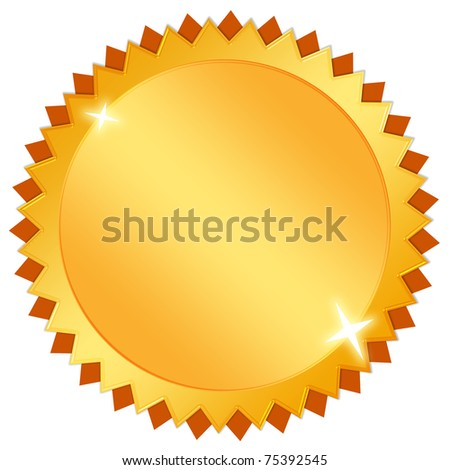 Blank gold certificate icon