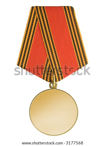 Blank gold medal, isolated on white background - stock photo