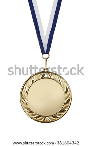 Blank gold medal isolated on white background with copy space - stock photo