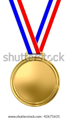 Blank gold medal with tricolor ribbon - 3d render - stock photo