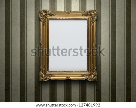 Blank gold picture frame at grunge striped wall with copy space - stock photo